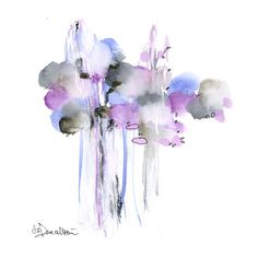Lavender Abstract Original Watercolor Painting 10x10  by DUEALBERI, $42.00
