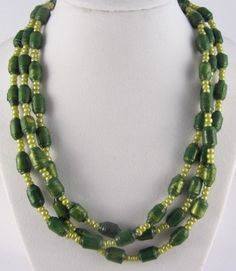 Tri-Strand Paper Bead Necklace in Green