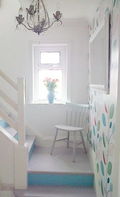 White and blue. Hand Painted Furniture, Of Wallpaper, Diy On A Budget, No Frills, Shabby Chic, Decorating Ideas, Stairs, Bed, Interior