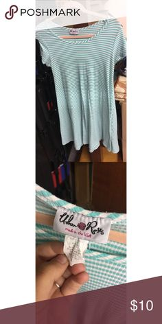 T-Shirt Dress 🌸 Women's turquoise and white t-shirt dress purchased from a local boutique. Size large! Dresses Midi