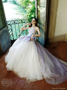 Ortensia dress with skirt delicately tinted purple achieving a beautiful watercolor effect (Rosanna Perrone 2011)