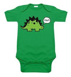 Rawr Dinosaur Kelly Green One Piece by My Baby Rocks - gender neutral baby clothes