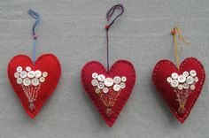 Heart Ornaments with Button Flowers
