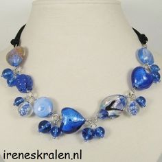 Homemade Necklace with Blue Glass Beads Hearts by IrenesBeads, €14.50
