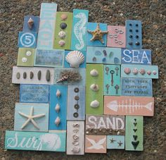 SEA Ocean Coastal BEACH Cottage Collage Wall Hanging Sign on Etsy, $150.00