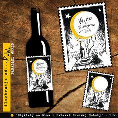 Etykiety na Domowe Wina i Nalewki z autorskimi ilustracjami. Komplet zawiera pięć etykiet z tą samą ilustracją. Oczywiście same w sobie etykietki nie posiadają żadnych napisów jedynie ilustracje....