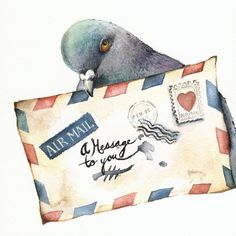 Messenger- Carrier Pigeon Print  (amberalexander on Etsy)   (that's a flirty pigeon if i ever saw one! ;) )