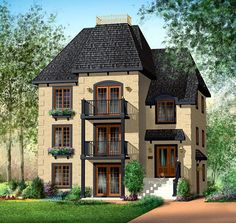 Multi-Family Plan 49817 | Narrow Lot Plan with 3765 Sq. Ft., 9 Bedrooms, 3 Bathrooms at family home plans