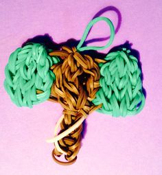 Elephant with tusks rainbow loom charm