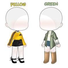 """💛Yellow and Green💚 . This is the outfits of the """"Vintage Rainbow"""" set. (Yes, I did repost) inspiration . Kawaii Drawings, Cute Drawings, Anime Outfits, Cool Outfits, Clothing Sketches, Cute Chibi, Anime Sketch, Drawing Clothes, Backrounds"""