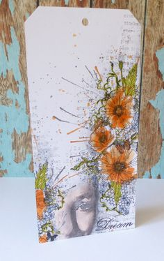 Large tag using Art Journey and Indigoblu stamps