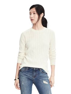 Italian Cashmere Blend Cable Crew Sweater | Banana Republic