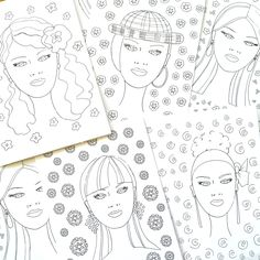 DIY Be Your Own Fashion Artist Coloring Cards - Fashion Faces - Coloring Book - Tween Gift - Makeup Artist - Fashion Illustration - Greeting by bbriggsillustration on Etsy