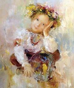 Girl with a kitten by Nikolai Fedyaev