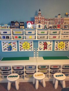 Lego Storage Ideas: The Ultimate Lego Organisation Guide Lego storage ideas & photos. How to organise lego by colour, size, set or purpose. Plus ideas on how to display Lego. The ultimate Lego storage guide! Kids Storage, Toy Storage, Storage Ideas, Storage Organization, Table Storage, Bedroom Organization, Storage For Legos, Craft Storage, Organizing Ideas