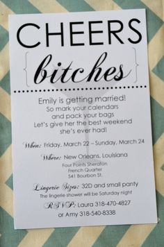 Bachelorette Party Invitation - 'Cheers Bitches' funny invitation- I like that my name is Emily and that is exactly my attitude about things Bachlorette Party, Bachelorette Party Invitations, Bachelorette 2017, Wedding Invitations, Best Friend Wedding, Invitation Wording, Here Comes The Bride, Party Planning, Just For You