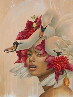 pink - woman and birds - swans - Kari-Lise Alexander - painting