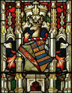 Armorial window in St. Mary's Church at Bottesford, Leicestershire, England