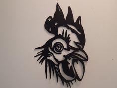 Steel Metal Art  Chicken Head Silhouette Coop Decor by ocoeefinds