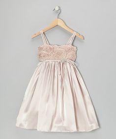 Look what I found on #zulily! Champagne Rosette Satin Babydoll Dress - Toddler & Girls #zulilyfinds