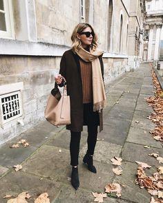 Emma Hill style; Rag & Bone reversible brown check coat, camel wool scarf, Marni tote bag, brown cashmere jumper, black skinny jeans, Black suede Acne Jensen boots, Celine sunglasses