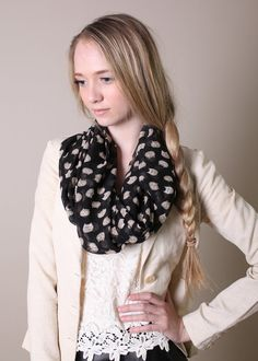 Adorable Cat head print in tan and white colors, on black base. Very cute infinity scarf, get ready for tons of compliments!  Sheer and lightweight,