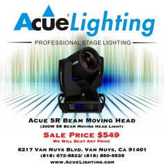 The Acue Lighting 5R Beam 200W Moving Head is the fixture that started it all. The Acue 5R Beam Moving Head features a 200w MSD Platinum bulb as its light source (2000 hrs). Professional DJ equipment, stage and event lighting.
