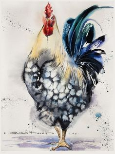 art acuarela spotted rooster sm watercolor on paper Arches+Winsoramp; Watercolor Bird, Watercolor Animals, Watercolour Painting, Painting & Drawing, Watercolors, Rooster Painting, Rooster Art, Chicken Painting, Chicken Art