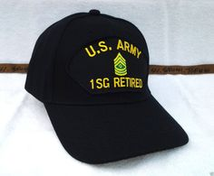 bcb87a73064 US ARMY 1ST SERGEANT 1SG RETIRED (BLACK) Military Veteran Hat 723 RAEB