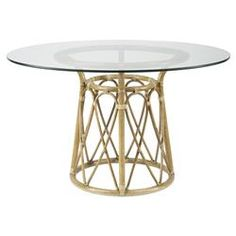Kareen Global Bazaar Rattan Round Dining Table - Tan | Kathy Kuo Home