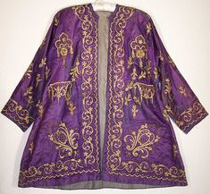 ottoman embroidery | Ottoman Turkish Gold Embroidered Purple Silk Jacket Close up.