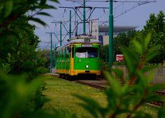 Poznań, tramwaj Duewag GT8 #713 - #Poznan, #tramwaj, #tram Heavy And Light, Light Rail, European Football, Train Station, Higher Education, Homeland, Climate Change, Trains, Past