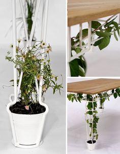 PlanTable Hybrid: Ornate Metal Trellis + Wood Dinner Table