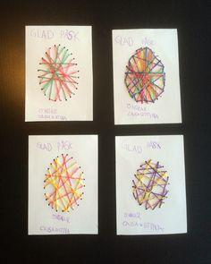 Påskkort av garn. Diy Pyssel Eastercard Easter Påsk Yarn Kids Barn Craft
