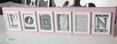 Framed Photo Letters: This post links to an amazing source for letter photos...there are literally hundreds of each letter! You simply download for FREE and print from your own printer…pretty darn cheap and easy!