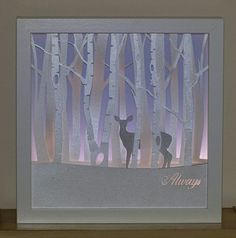 Silver Doe Framed Night light reminiscent by craftylittlefoxshops