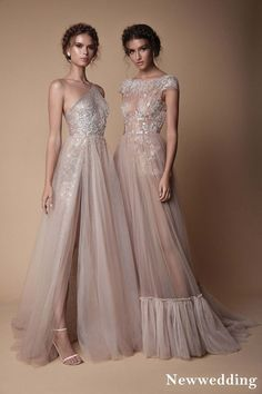 Berta 2018 Evening Dress Collection Gorgeous champagne coloured sheer evening wedding gown with tulle skirts, sexy thigh slits, fringe detail and shimmery embroidery // You've… Classy Evening Gowns, Evening Party Gowns, Evening Dresses, Wedding Evening Gown, Beautiful Wedding Gowns, Bohemian Wedding Dresses, Beautiful Dresses, Dress Wedding, Tulle Wedding