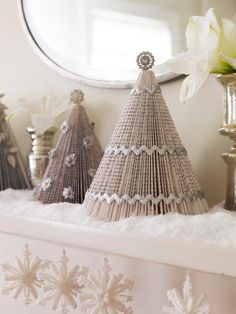Book page Christmas trees - Decorating: Holiday Mantels | Traditional Home