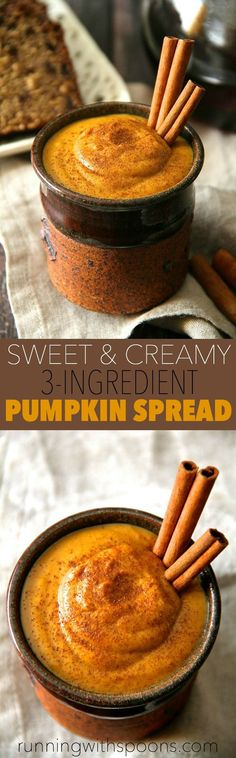 Sweet and Creamy Pumpkin Spread -- made with 3 ingredients and in under 2 minutes, this pumpkin spread is the perfect way to add a touch of fall flavour to your favourite meals and snacks! Vegan, gluten-free, and Paleo friendly Thanksgiving Recipes, Fall Recipes, Holiday Recipes, Vegan Recipes, Snack Recipes, Cooking Recipes, Vegan Pumpkin, Pumpkin Recipes, Pumpkin Spice