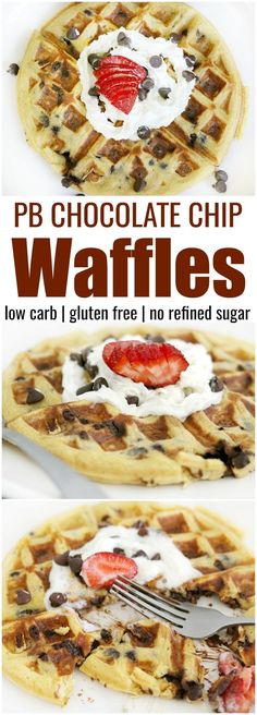 """A low carb waffle that eats like dessert for breakfast! Made with ingredients you probably already have on hand. So good """"non-low carbers"""" will love them. keto low carb gluten free sugar free"""