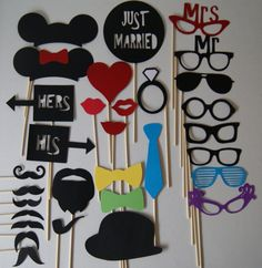 LOVE the minnie and mickey ears!  WEDDING Photo Booth Props  31 Piece Set  WEDDINGS by ennaojpaperie, $35.00