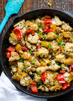 Sesame Cauliflower and Bell Peppers -- 10 minute Clean Eating side dish easy enough for a weeknight dinner. #glutenfree #vegan