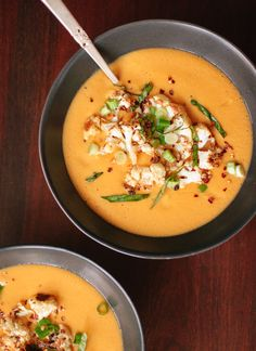 Curried coconut and cauliflower soup - cookieandkate.com