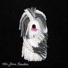 OLD ENGLISH SHEEPDOG beaded dog keepsake pin pendant Etsy bead embroidery jewelry Vanderpump dogs