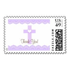 Purple Heart Cross Baptism Thank You Postage