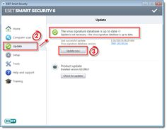 How to make sure your ESET is up to date.    http://techsquad.ca/2013/02/20/making-sure-youre-up-to-date-eset/