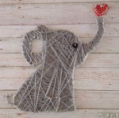 String art, elephant, by Elise MB, 8 July 2016