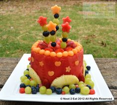 Watermelon and rockmelon cake! <3