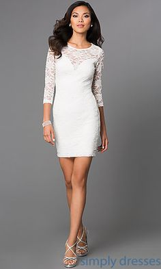 Shop short lace ivory party dresses with long sleeves for holiday parties at SimplyDresses. Emerald Sundae dresses with lace see through back.