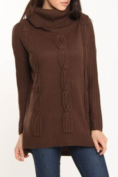 Cable Cowl Neck Sweater In Chestnut--llove sweaters with big necks
